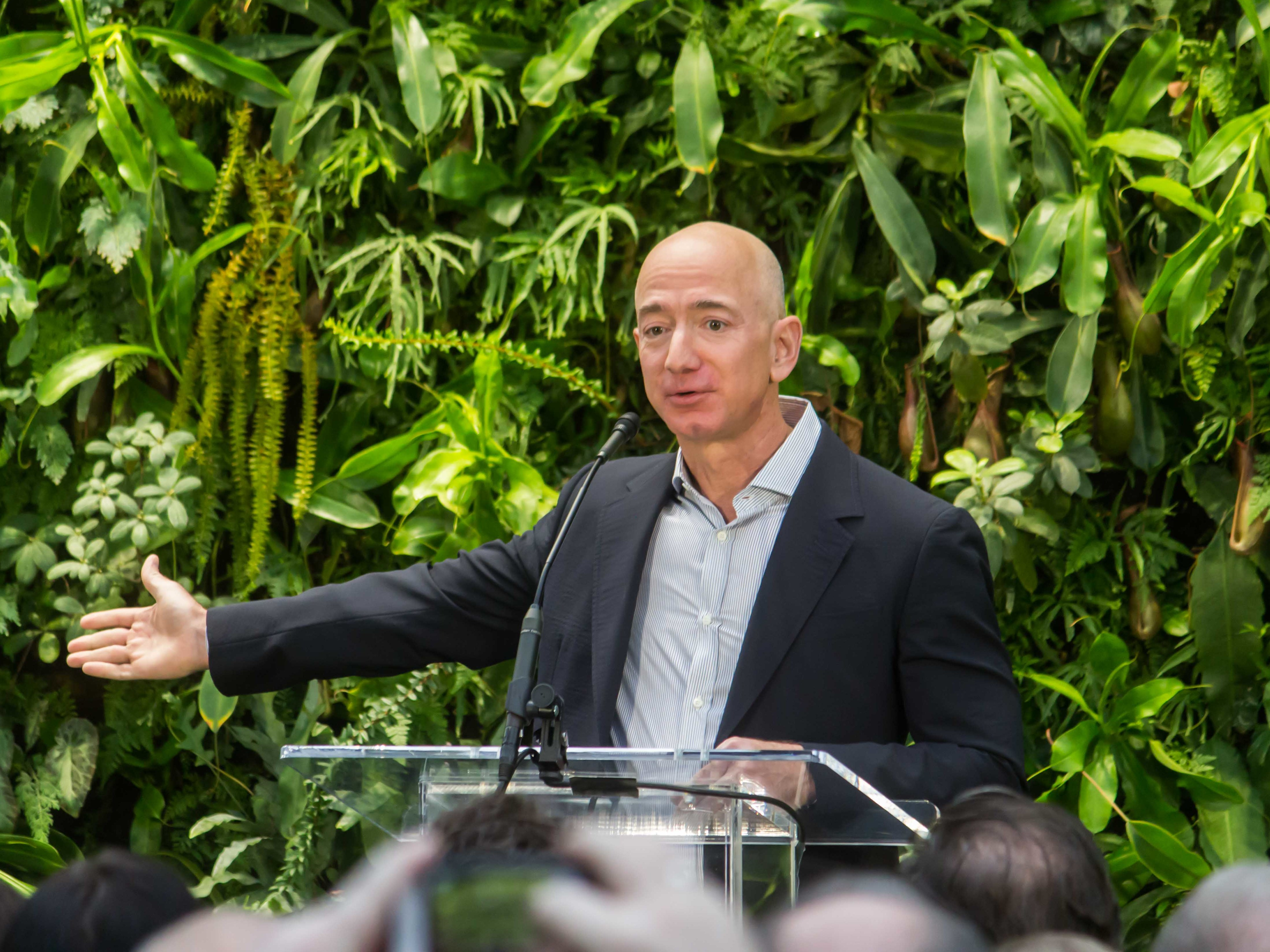 Jeff Bezos At Amazon Spheres Grand Opening In Seattle 2018 (39074799225) (Cropped2)